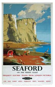 Vintage Seaford Art Print Railway Travel Poster A1/A2/A3/A4
