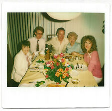 Vintage 80s Kodak Instant PHOTO Group People w/ Flowers Plates At Dining Table