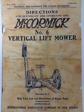 Mccormick Deering No6 Vertical Lift Sickle Hay Field Mower Owner Amp Parts Manual