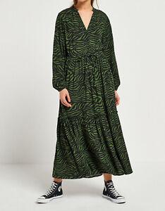 Next Khaki Zebra Maxi Shirt Dress Size 8 New With Tags