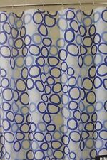 "InterDesign Ringo White & Blue Fabric Shower Curtain 72"" x 72"" NIP"