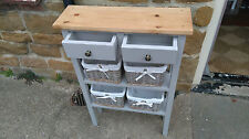 H90 W60 D20cm BESPOKE LA French Grey OAK WAX TOP CONSOLE HALL TABLE 2 DRAWERS