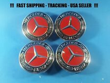 Center Wheel Cap Red Chrome Fit Mercedes 75mm S ML GL E C USA Rim Emblem Caps