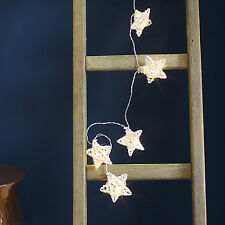 10 Rattan Star Battery Operated Warm White LED Bedroom Fairy Party String Lights
