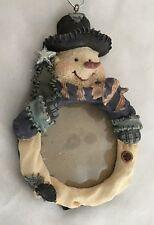 "Multi 4.5"" Snowman Photo Frame Ornament Figurine Holds 2"" Round Photo"