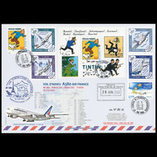 """A380-307 : 2020 Pli voyagé sur """"Vol adieu AF380 retrait A380 Air France"""" Tintin"""