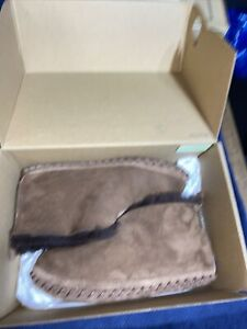 LL Bean Shearling Wicked Good Brown Suede Bootie Slippers Men Sz 7M
