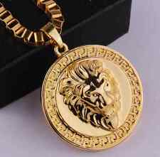 18k Gold Plated MICRO Lion HEADPIECE Pendant Chain Hip Hop Necklace N139