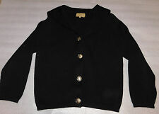 LeRoy Knitwear 100% Wool Black Ribbed Long-Sleeve Crown Button Front Top Size S