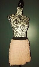 RIVER ISLAND JUPE SKIRT POP VOLANTS ROSE NUDE TULLE T UK 10 OU 36/40