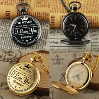 Son Gift Vintage Pocket Watch with Fob Chain Quartz Movement Roman Numerals Dial