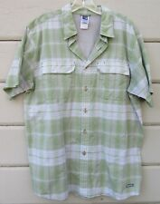 The North Face Green White Plaid SS Nylon Sport Casual Camp Shirt Men's Large