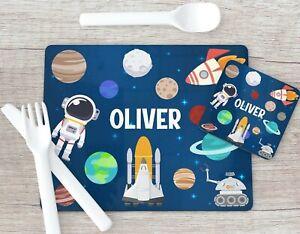 Space Print Placemat & Coaster Set, Planet Astronaut, Placemat Stocking Filler