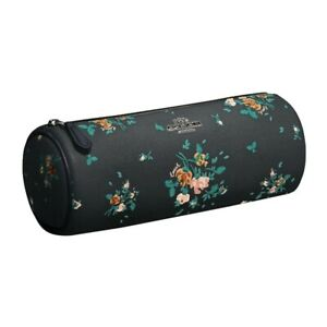 NWT COACH Makeup Brush Holder Rose Floral Flower Travel Case Navy 91787 FREE SH