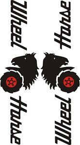 """Paire de WHEEL HORSE PEUR CETTE Flaming Head decals-Autocollant 1L/&1R côté 31//2/""""X9/"""""""