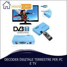DECODER DIGITALE TERRESTRE PER PC E TV MONITOR DVB-T REGISTRA SU USB USCITA VGA