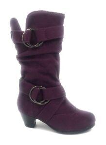 Toddler Girls Suede Block Heel Warm Winter Fur Buckle Fashion Boots Shoes Sz 4-8