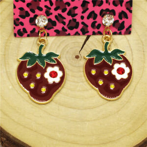 Hot Red Enamel Cute Strawberry Flower Crystal Betsey Johnson Women Stand Earring