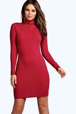 Boohoo Hannah Ribbed High Neck Bodycon Dress In Burgundy 10