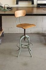 Vintage Industrial Toledo UHL Draftsman Stool Machine Age Chair Factory Green