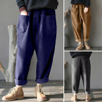 Mode Femme Pantalon en velours Harlan Style Taille elastique Jambe Large Plus