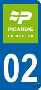 1 Sticker plaque immatriculation AUTO adhésif département 02 logo vert