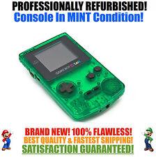 *NEW GLASS SCREEN* Nintendo Game Boy Color GBC Custom Clear Green System MINT