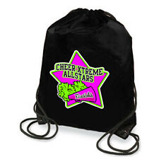 Personalized Cheerleading Star With Megaphone And Pom-Poms Drawstring Backpack