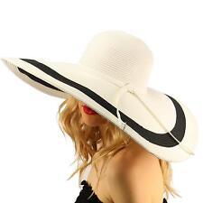 """2Tone  Floppy Super Big Wide Brim 7""""+  Summer Derby Beach Dress Sun Hat White"""