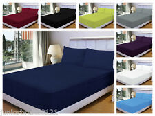 3 PIECE MICROFIBER BED SET 2 PILLOWCASES + FITTED SHEET DOUBLE KING SUPERKING