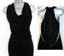 New KAREN MILLEN Black Silk Velvet Open Back Party Mini Dress UK 12  EU 40 £180
