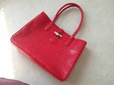 Longchamp Roseau Croc Embossed Shoulder Bag Purse in Red NWT $530 Long Handle