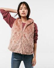 nwt express hooded faux fur vest coat top rose M/L 06955068