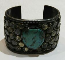 Heavy Old Pawn Silver & Turquoise Chunky Native American Cuff Bracelet