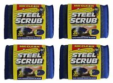 Mr Clean - Steel Scrub - Heavy Duty Cleaning Scourer Pad (Pack of 12)
