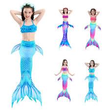 Kids Girls Mermaid Tail Monofin Swimming Swimwear Bikini Swimsuit Costume 3PCS