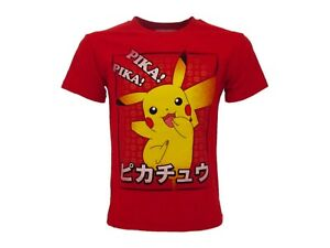 T-Shirt Pokemon Original Red Official Pikachu Pika Knit Shirt