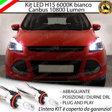 KIT LED H15 CANBUS LUCI DIURNE  + ABBAGLIANTI 6000K FORD KUGA MK2 10800 LUMEN