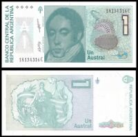 ARGENTINA 1 Austral, 1985-1991, P-323, Rivadavia/Liberty, UNC World Currency