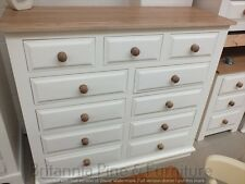 HAMPSHIRE PAINTED 11 DRAWER MULTI CHEST /SOLID PINE - SOLID OAK - IVORY