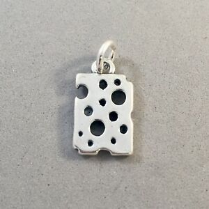 .925 Sterling Silver 3-D SLICE OF CHEESE CHARM Pendant Food Swiss NEW 925 KT35