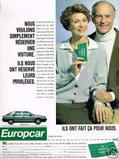 Publicité advertising 1989 Location de voitures Europcar