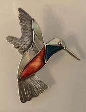 Sterling Silver 950 Designer Signed Cesar Palma Peru Hummingbird Pendant Brooch