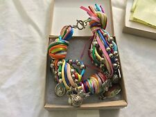 Multicolor, lucky bracelet with many charms, spheres and enamel medallion