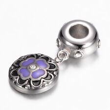 Stainless Steel Dogwood European Bead Dogwood Charm Flower Fit European Bracelet
