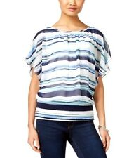 Blouse Style & Co Striped Flutter-Sleeve Multi-Color Women's XL Clothing NWT