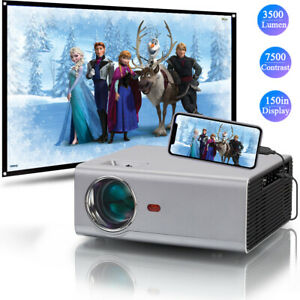 """720P HD Mini Portable Video Projector 1080P for Home Theater Camping 150"""" Screen"""