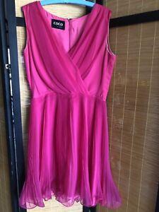 Vintage 70s Coco California Pink Chiffon Swing Dress Pleated Chiffon Bust 42 Mod