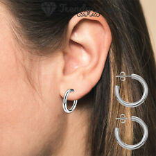 New Chunky Hoop Earrings Round Tube Thick Hoops 925 Sterling Silver Plated Women