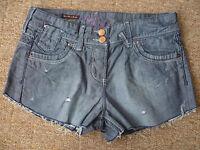 RIVER ISLAND UK8 LADIES REWORKED DISTRESSED DENIM BOYFRIEND HOT PANTS GOOD CON